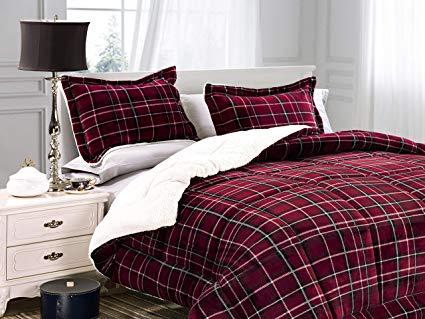 Elegant Comfort – Sherpa-Backing Micro-Suede Comforter Set