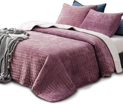 KASNTEX – Buttery Soft Poly Velvet Sherpa Comforter Set