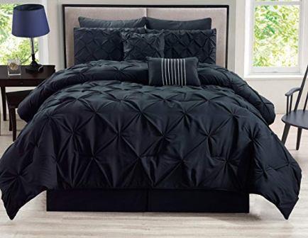 KingLinen 8 Piece Rochelle Pinched Pleat Black Comforter Set
