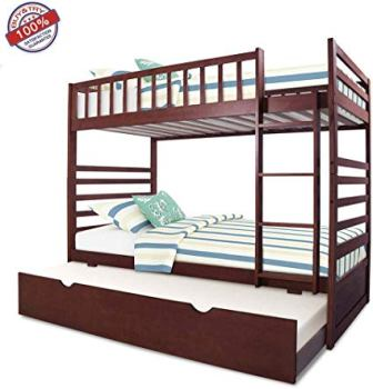 MIERES Twin Bunk Beds for Kids Full with Storage Trundle Bedframe