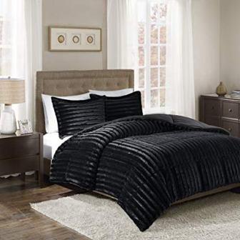 Madison Park Duke Faux Fur Plush Bedding 3 Piece Comforter Set