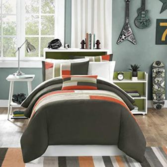 Mi-Zone Pipeline Printed Olive 3 Piece Comforter Set