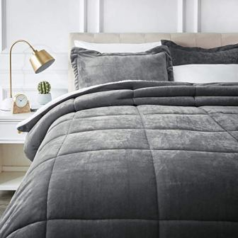 Micromink Sherpa Comforter Set by AmazonBasics