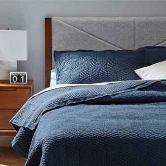 Modern Stone Washed Textured Coverlet by Rivet