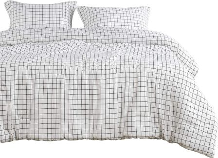 Wake In Cloud – Navy Grid Comforter Set