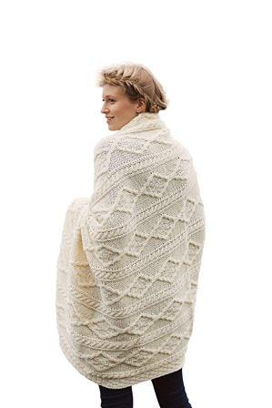 00% Irish Merino Wool Plaited Aran Celtic Cream Couch Throw Blanket