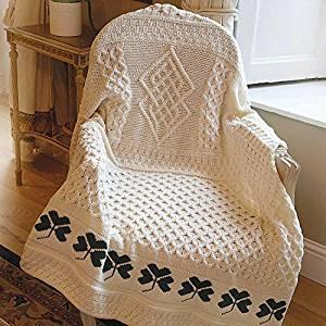 100% Irish Merino Wool Shamrock Throw Blanket 50