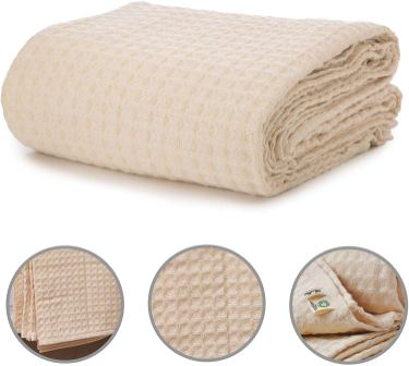All Cotton and Linen USA Organic Waffle Blanket