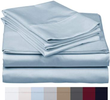 Bishop Cotton 100% Egyptian Cotton 800 Thread Count (Twin, Sky Blue)