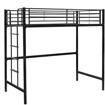 Bonnlo Metal Twin Size Loft Bed, Black