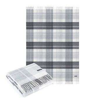 Cashmere Merino Wool Throw Blanket Plaid