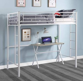 DCraft Berdine Loft Bed Twin Size Metal White