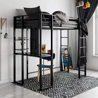 DHP Adobe Twin Size Metal Loft Bed