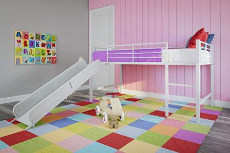 DHP Junior Twin Size Metal Loft Bed With Slide