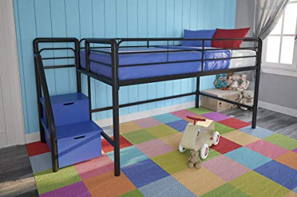DHP Junior Twin Size Metal Loft Bed With Storage Steps
