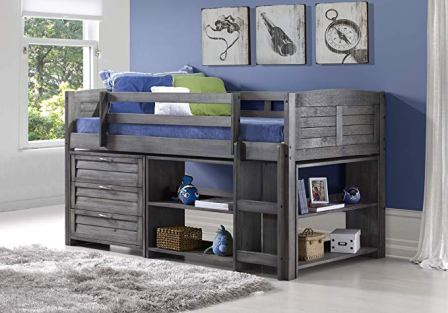 Donco Kids Modular Low Loft Bed Grey Finish
