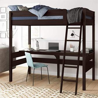Dorel Living Harlan Loft Wood Bed With Desk