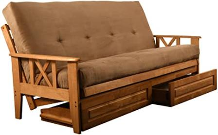 Jerry Sales Eldorado Futon Brown Finish Frame w/ Coil 8 Inch Mattress Full Size Sofa Bed