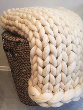 Knit Chunky Blanket Giant Throw Merino Wool