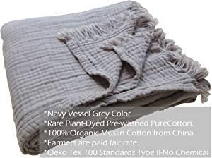 Kyrahome Ultra Soft Organic Muslin Cotton Throw Blanket