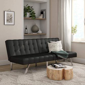 Mainstays Morgan Convertible Tufted Futon - Black Faux Leather