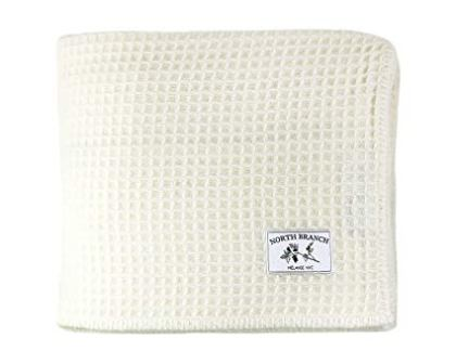 Melange Home Waffle Weave Merino Wool Blanket Twin/Twin XL Ivory