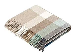 Moon Wool Throw Blanket, Merino Lambs-wool, Harley Stripe Eucalyptus