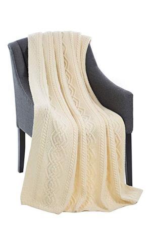 SAOL Dara Merino Wool Aran Throw (Natural)