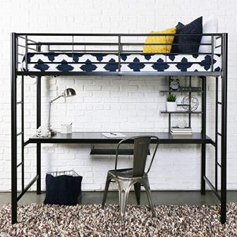 Walker Edison Premium Furniture Twin Size Metal Loft Bed