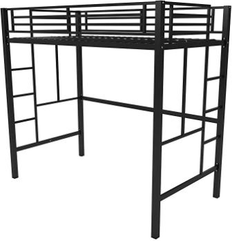 Your Zone Black Twin Size Loft Bed Metal