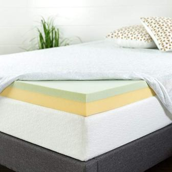 ZINUS GREEN TEA-INFUSED MEMORY FOAM MATTRESS TOPPER