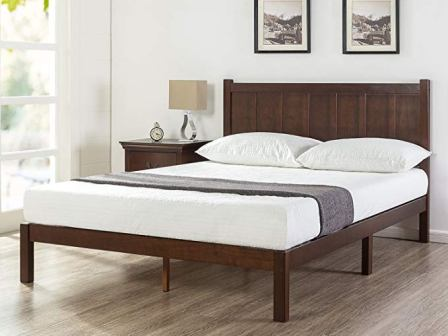 Zinus Adrian Wood Rustic Style Platform Bed with Headboard