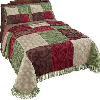 Collections Etc Colorful Patchwork Chenille Bedspread