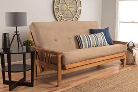 Eldorado Futon Set Hardwood Frame Full Size w/ 8 Inch Coil Mattress Sofa Bed