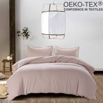 Meadow Park Pale Pink Stone Washed French Linen Duvet Cover