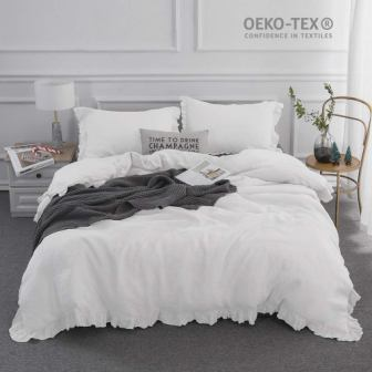 Simple & Opulence Stone Washed Frill Floral Duvet Cover