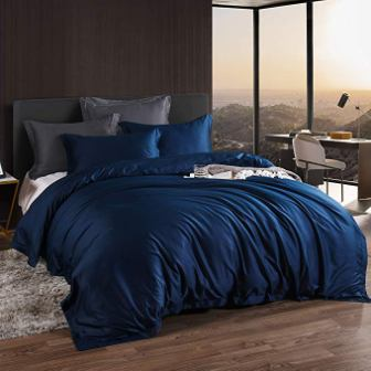 Aikoful Egyptian Cotton Blue Bedding Set