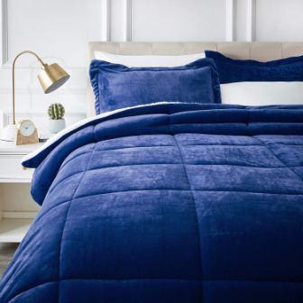 AmazonBasics Ultra-Soft Micromink Sherpa Blue Comforter Set