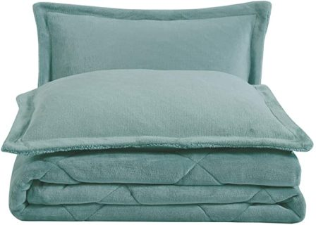 Chezmoi Collection Micromink Sherpa Down Alternative Blue Comforter Set