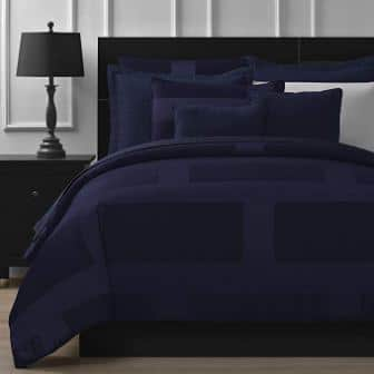 Comfy Bedding Frame Jacquard 5-piece Queen Size Navy Blue Comforter Set