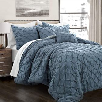 Lush Décor Ravello Pintuck Blue Comforter Set