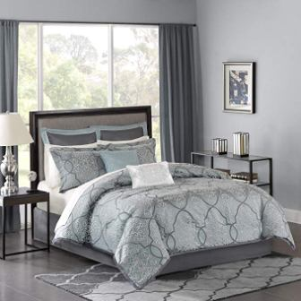 Madison Park Lavine Jacquard Blue Comforter Set
