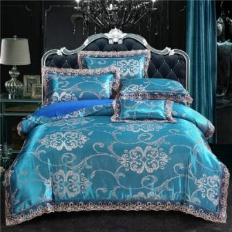Pyclife Lace Jacquard Blue Duvet Cover Set