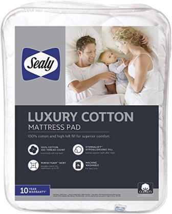 Sealy Luxury 100% Cotton Fitted Mattress Pad