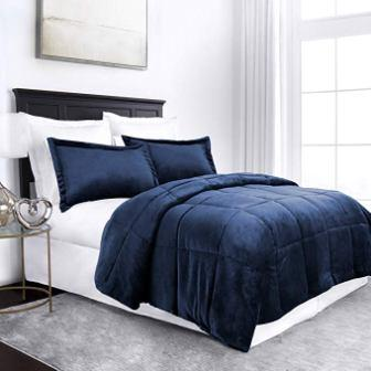 Sleep Restoration Micromink Goose Down Alternative Blue Comforter Set