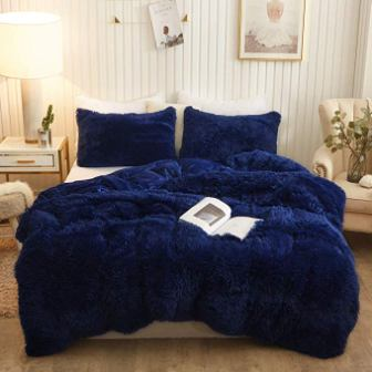 XeGe Plush Shaggy Blue Duvet Cover Set