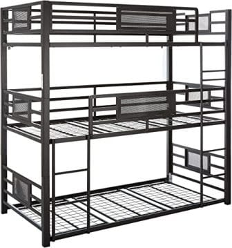 Black triple bunk bed from Coaster Home Furniture