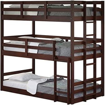 Dark cappuccino triple twin-size bunk bed by Donco Kids