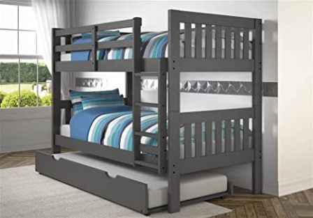 Dark grey double-decker with extra trundle bed from Donco Kids