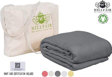 HILLFAIR 100% GOTS Certified Organic Cotton Winter Blanket